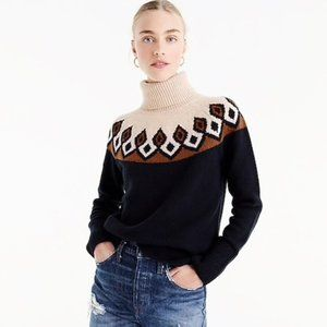 J.Crew Fair Isle Turtleneck Wool Pullover Sweater